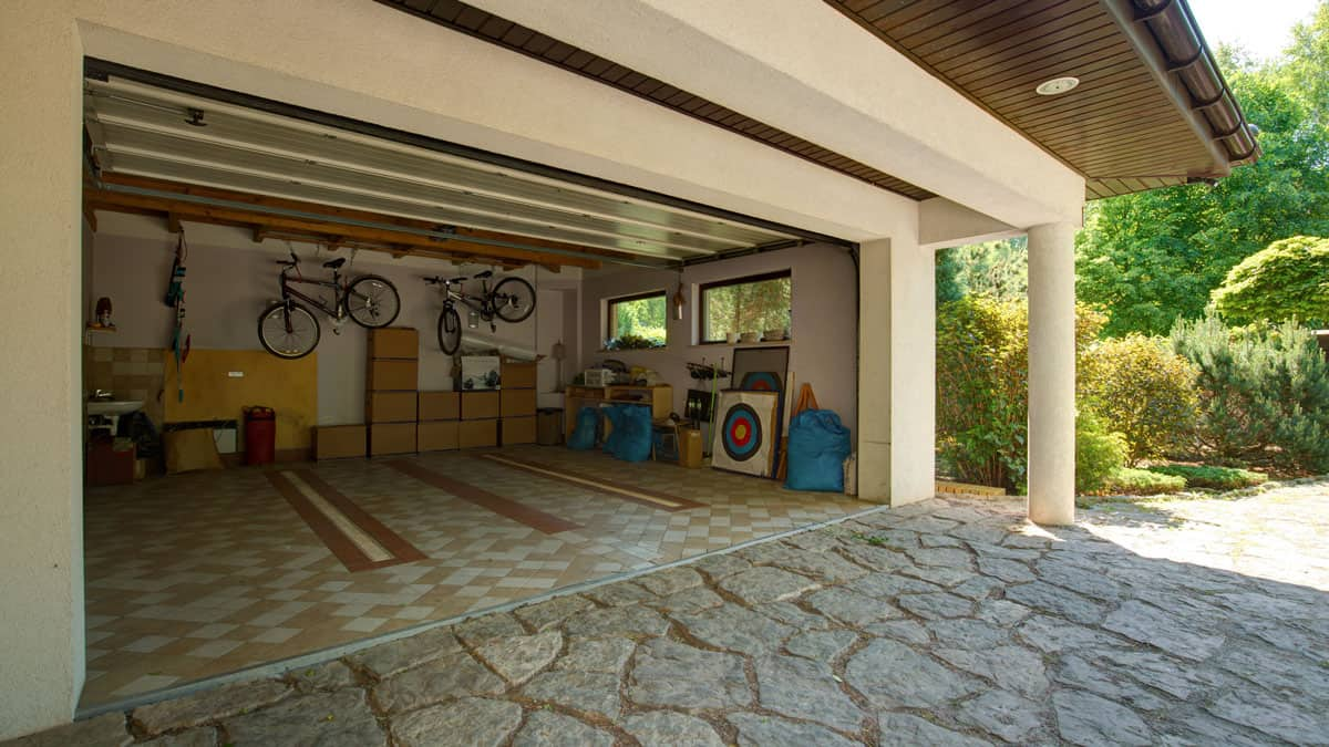 clean double garage