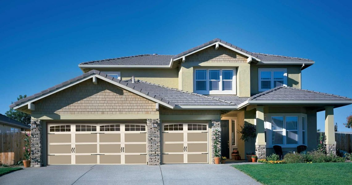 arched garage door home