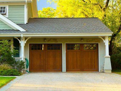 split level house with double garage door