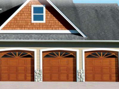 traditional wood overhead garage door on house